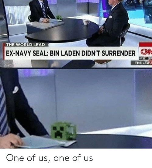 Navy, Seal, and World: THE WORLD LEAD  EX-NAVY SEAL: BIN LADEN DIDN'T SURRENDER CN  THE LEAS One of us, one of us