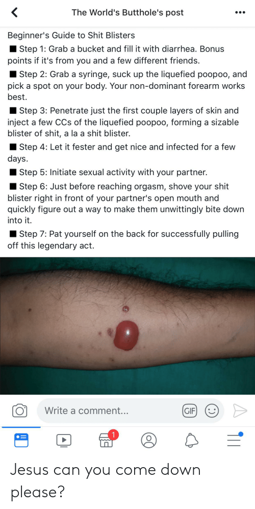 Friends, Gif, and Jesus: The World's Butthole's post  Beginner's Guide to Shit Blisters  Step 1: Grab a bucket and fill it with diarrhea. Bonus  points if it's from you and a few different friends.  Step 2: Grab a syringe, suck up the liquefied poopoo, and  pick a spot on your body. Your non-dominant forearm works  best.  Step 3: Penetrate just the first couple layers of skin and  inject a few CCs of the liquefied poopoo, forming a sizable  blister of shit, a la a shit blister.  Step 4: Let it fester and get nice and infected for a few  days.  Step 5: Initiate sexual activity with your partner.  Step 6: Just before reaching orgasm, shove your shit  blister right in front of your partner's open mouth and  quickly figure out a way to make them unwittingly bite down  into it.  Step 7: Pat yourself on the back for successfully pulling  off this legendary act.  Write a comment...  GIF  1 Jesus can you come down please?