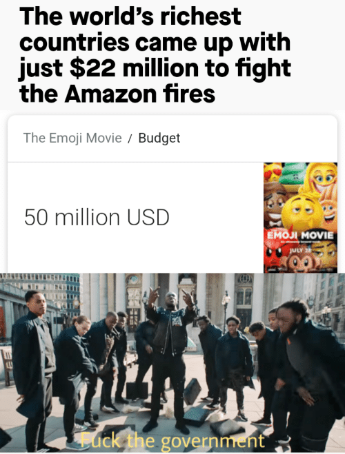 Amazon, Emoji, and Budget: The world's richest  countries came up with  just $22 million to fight  the Amazon fires  The Emoji Movie  Budget  50 million USD  Емол MOVIE  JULY 26  ack the government