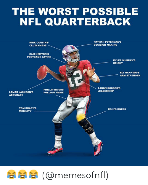 Leadership: THE WORST POSSIBLE  NFL QUARTERBACK  cous  KIRK COUSINS  NATHAN PETERMAN'S  DECISION MAKING  CLUTCHNESS  CAM NEWTON'S  POSTGAME ATTIRE  KYLER MURRAY'S  HEIGHT  ELI MANNING'S  ARM STRENGTH  12%  AARON RODGER'S  PHILLIP RIVERS  LEADERSHIP  LAMAR JACKSON'S  PULLOUT GAME  ACCURACY  TOM BRADY'S  RGIII'S KNEES  MOBILITY 😂😂😂 (@memesofnfl)