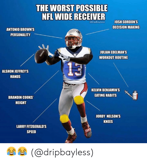 julian: THE WORST POSSIBLE  NFL WIDE RECEIVER  JOSH GORDON'S  GOripBayless  DECISION MAKING  ANTONIO BROWN'S  PERSONALITY  JULIAN EDELMAN'S  WORKOUT ROUTINE  13  ALSHON JEFFREY'S  HANDS  KELVIN BENJAMIN'S  EATING HABITS  BRANDIN COOKS  HEIGHT  JORDY NELSON'S  KNEES  LARRY FITZGERALD's  SPEED 😂😂 (@dripbayless)