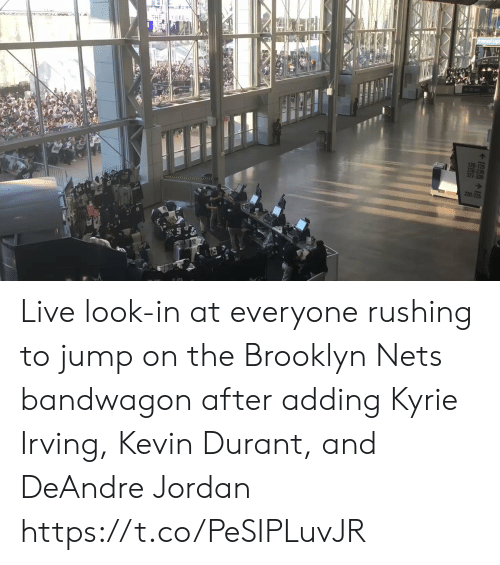 Nets: THE Y SEEn  126-129  226-23  327-330  220 Live look-in at everyone rushing to jump on the Brooklyn Nets bandwagon  after adding Kyrie Irving, Kevin Durant, and DeAndre Jordan https://t.co/PeSIPLuvJR