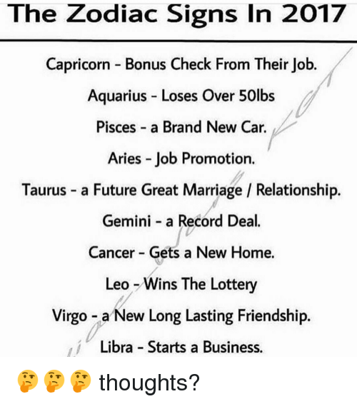 The Zodiac Signs in 2017 Capricorn Bonus Check From Their