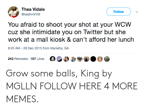 Dank, Memes, and Target: Thea Vidale  Follow  @ashmirVIlI  @kashmirVilll  You afraid to shoot your shot at your WCW  cuz she intimidate you on Twitter but she  work at a mall kiosk & can't afford her lunch  8:20 AM-28 Dec 2015 from Marietta, GA  243 Retweets 157 Likes 0,00 Grow some balls, King by MGLLN FOLLOW HERE 4 MORE MEMES.