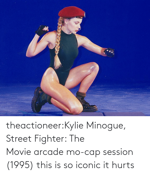 cap: theactioneer:Kylie Minogue, Street Fighter: The Movie arcade mo-cap session (1995) this is so iconic it hurts