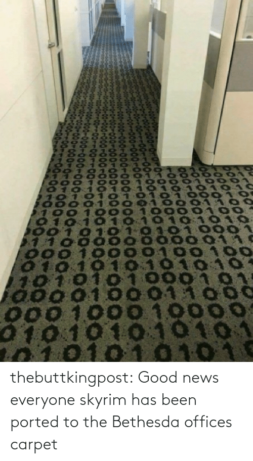 News: thebuttkingpost: Good news everyone skyrim has been ported to the Bethesda offices carpet