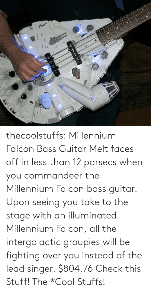 bass guitar: thecoolstuffs:  Millennium Falcon Bass Guitar  Melt faces off in less than 12 parsecs when you commandeer the Millennium Falcon bass guitar. Upon seeing you take to the stage with an illuminated Millennium Falcon, all the intergalactic groupies will be fighting over you instead of the lead singer.  $804.76   Check this Stuff!  The *Cool Stuffs!