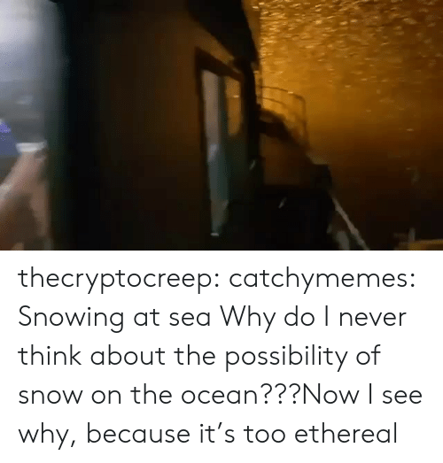 facebook.com: thecryptocreep: catchymemes: Snowing at sea Why do I never think about the possibility of snow on the ocean???Now I see why, because it's too ethereal