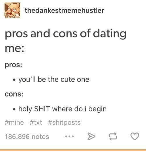 Dank, Dating, and Hustler: thedankestmeme hustler  pros and cons of dating  me  pros:  you'll be the cute one  Cons:  holy SHIT where do i begin  mine #txt #shit posts  186.896 notes