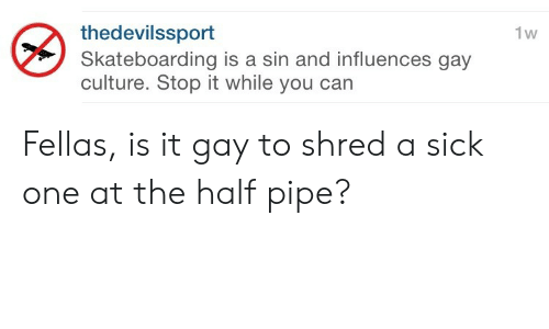 Sick, Gay, and Can: thedevilssport  Skateboarding is a sin and influences gay  culture. Stop it while you can  1w Fellas, is it gay to shred a sick one at the half pipe?