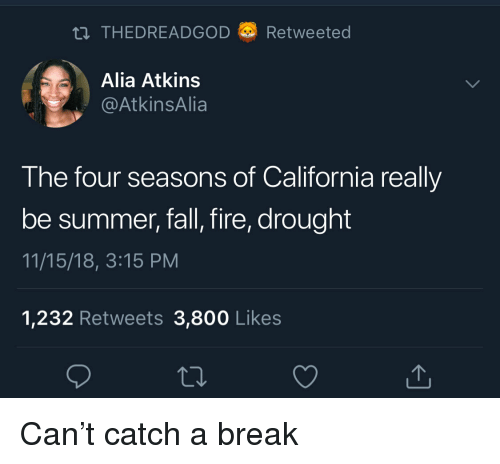 Fall, Fire, and Summer: THEDREADGOD a) Retweeted  Alia Atkins  AtkinsAlia  The four seasons of California really  be summer, fall, fire, drought  11/15/18, 3:15 PM  1,232 Retweets 3,800 Like:s Can't catch a break