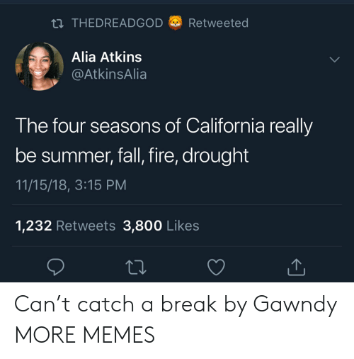 Dank, Fall, and Fire: THEDREADGOD a) Retweeted  Alia Atkins  AtkinsAlia  The four seasons of California really  be summer, fall, fire, drought  11/15/18, 3:15 PM  1,232 Retweets 3,800 Like:s Can't catch a break by Gawndy MORE MEMES