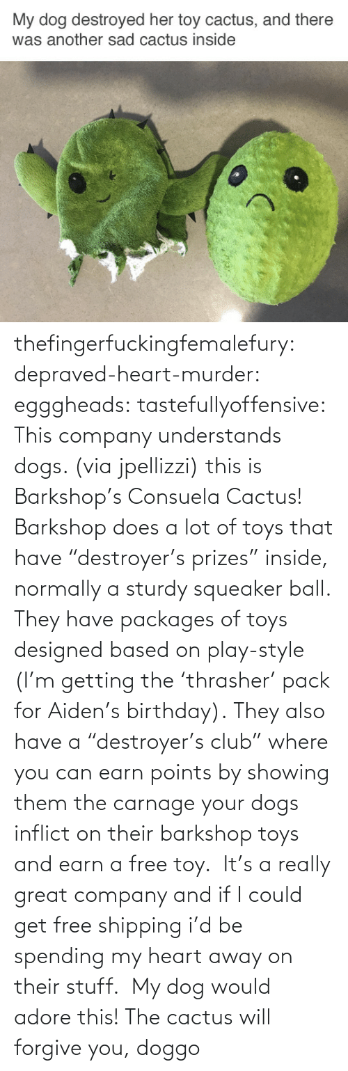 "Free: thefingerfuckingfemalefury:  depraved-heart-murder:  egggheads:  tastefullyoffensive: This company understands dogs. (via jpellizzi) this is Barkshop's Consuela Cactus! Barkshop does a lot of toys that have ""destroyer's prizes"" inside, normally a sturdy squeaker ball. They have packages of toys designed based on play-style (I'm getting the 'thrasher' pack for Aiden's birthday). They also have a ""destroyer's club"" where you can earn points by showing them the carnage your dogs inflict on their barkshop toys and earn a free toy.  It's a really great company and if I could get free shipping i'd be spending my heart away on their stuff.   My dog would adore this!  The cactus will forgive you, doggo"