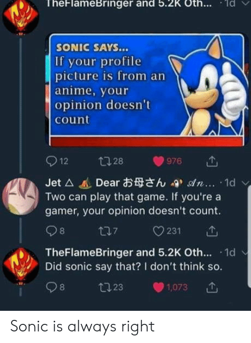 sonic says: TheFlameBringer and 5.2K Oth.. d  SONIC SAYS...  If your profile  picture is from an  anime, your  opinion doesn't  count  Jet △進Dearお母さん-9, son. .. . 1d  Two can play that game. If you're a  gamer, your opinion doesn't count.  TheFlameBringer and 5.2K Oth. 1d  Did sonic say that? I don't think so.  8  23  1,073 Sonic is always right