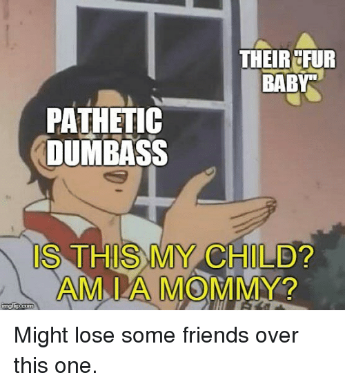 Friends, Memes, and Baby: THEIR FUR  BABY  PATHETIC  DUMBASS  IS THIS MY C  HILD?  AM I A MOMMY?  mgiip.com Might lose some friends over this one.