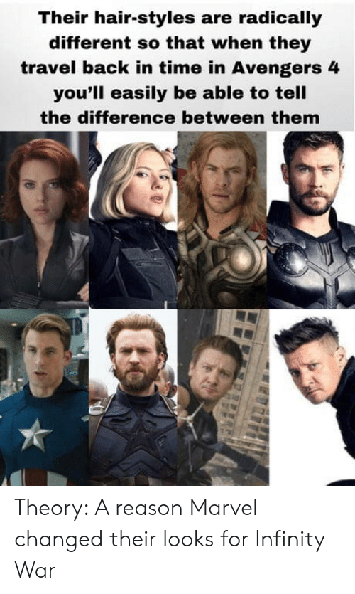 Avengers, Hair, and Infinity: Their hair-styles are radically  different so that when they  travel back in time in Avengers 4  you'll easily be able to tell  the difference between them Theory: A reason Marvel changed their looks for Infinity War
