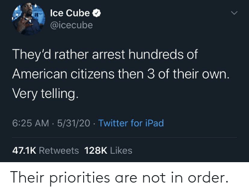 order: Their priorities are not in order.