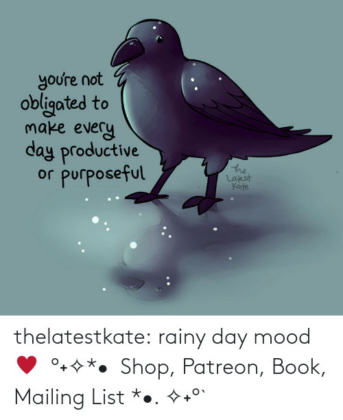 unknown: thelatestkate:  rainy day mood ♥  °˖✧*•  Shop, Patreon, Book, Mailing List *•. ✧˖°`
