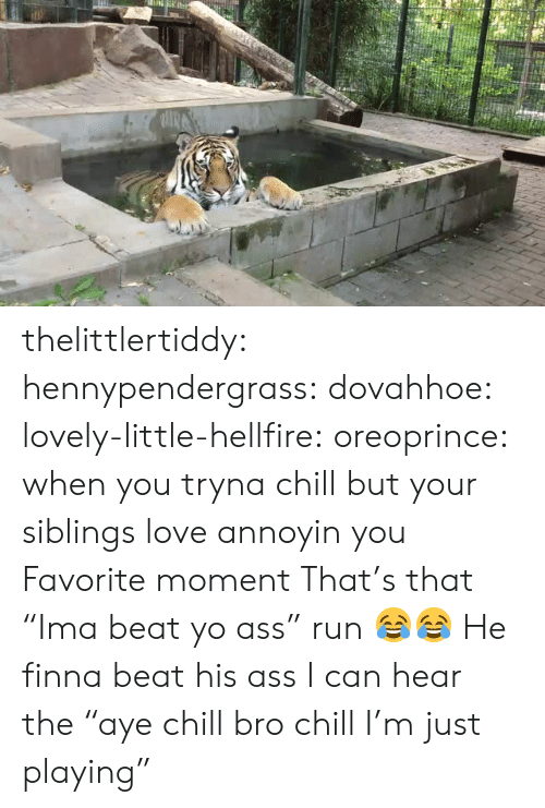 """Chill Bro: thelittlertiddy:  hennypendergrass:   dovahhoe:  lovely-little-hellfire:  oreoprince: when you tryna chill but your siblings love annoyin you Favorite moment   That's that """"Ima beat yo ass"""" run 😂😂   He finna beat his ass    I can hear the """"aye chill bro chill I'm just playing"""""""