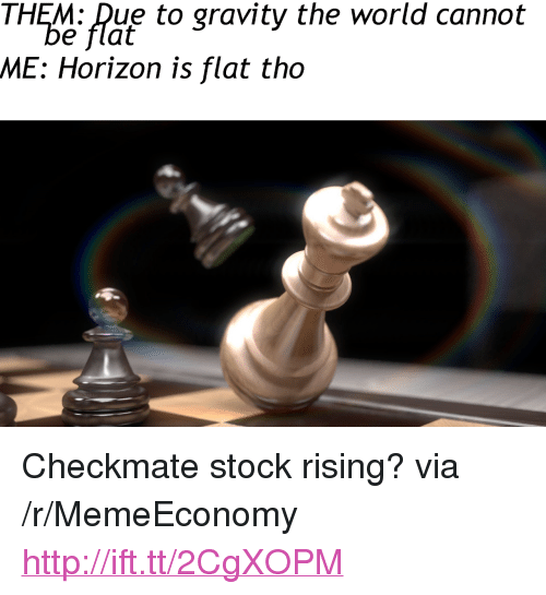 """Gravity, Http, and World: THEM: Due to gravity the world cannot  e flat  ME: Horizon is flat tho <p>Checkmate stock rising? via /r/MemeEconomy <a href=""""http://ift.tt/2CgXOPM"""">http://ift.tt/2CgXOPM</a></p>"""