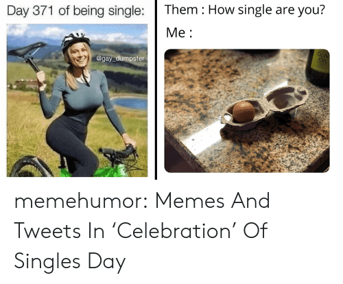 Tweets: Them How single are you?  Day 371 of being single:  Ме:  OLIV  OIL  @gay dumpster memehumor:  Memes And Tweets In 'Celebration' Of Singles Day