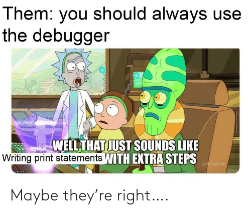 swim: Them: you should always use  the debugger  WELL THAT JUST SOUNDS LIKE  Writing print statements WITH EXTRA STEPS  [adult swim)  ngfip.com Maybe they're right….