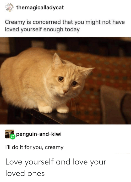 Love, Penguin, and Today: themagicalladycat  Creamy is concerned that you might not have  loved yourself enough today  penguin-and-kiwi  I'll do it for you, creamy Love yourself and love your loved ones
