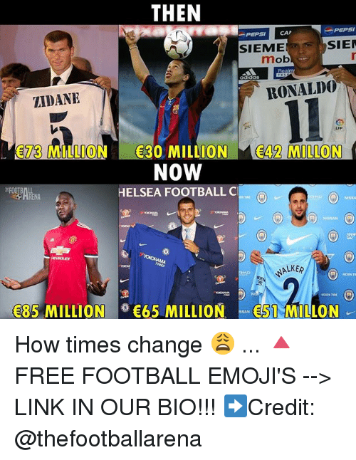 Capping: THEN  -PEPSI  PEPSI CAP  SIEME  SIE  mob  adidas  ZIDANE  RONALD0  73 MILLION 30 MILLION 42 MILLON  NOW  HELSEA FOOTBALL C  HRENA  ALKE  85 MILLION65 MILLION51 MILLON How times change 😩 ... 🔺FREE FOOTBALL EMOJI'S --> LINK IN OUR BIO!!! ➡️Credit: @thefootballarena
