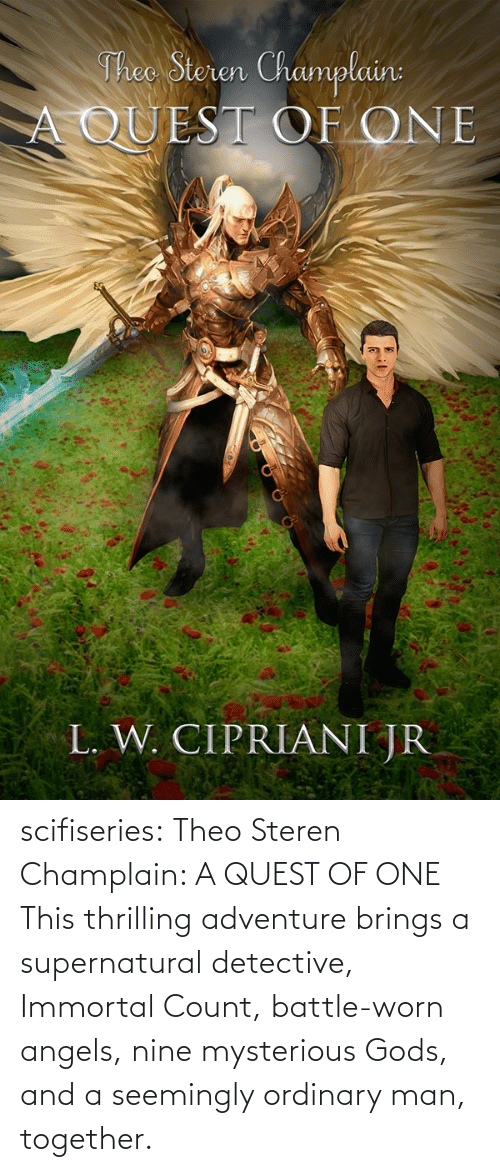 seemingly: Theo Steren Champlain:  A QUEST OF ONE  L. W. CIPRIANI JR scifiseries: Theo Steren Champlain: A QUEST OF ONE    This thrilling adventure brings a supernatural detective, Immortal Count, battle-worn angels, nine mysterious Gods, and a seemingly ordinary man, together.