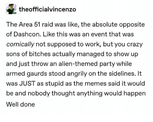 raid: theofficialvincenzo  The Area 51 raid was like, the absolute opposite  of Dashcon. Like this was an event that was  comically not supposed to work, but you crazy  sons of bitches actually managed to show up  and just throw an alien-themed party while  armed gaurds stood angrily on the sidelines. It  was JUST as stupid as the memes said it would  be and nobody thought anything would happen  Well done