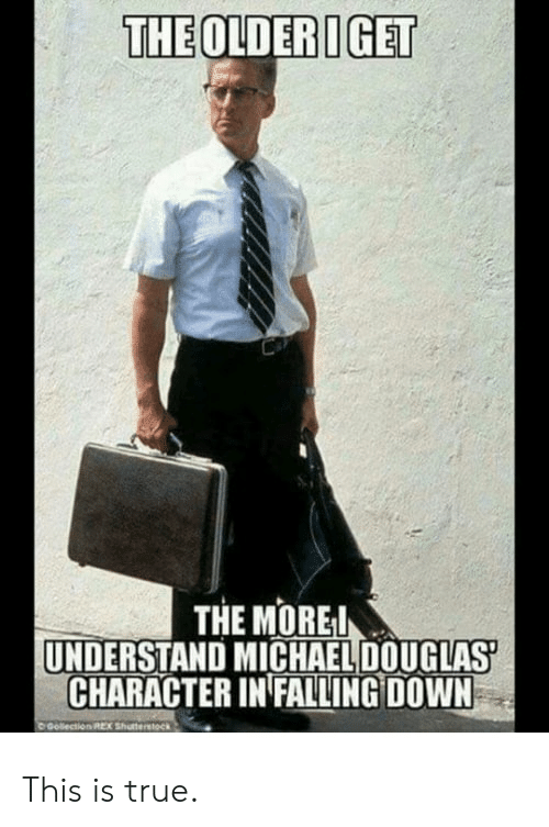 michael douglas: THEOLDERIGET  THE MOREI  UNDERSTAND MICHAEL DOUGLAS  CHARACTER IN FALLING DOWN This is true.