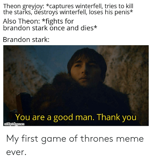 game of thrones meme: Theon greyjoy: *captures winterfell, tries to kill  the starks, destroys winterfell, loses his penis*  Also Theon: *fights for  brandon stark once and dies*  Brandon stark:  You are a good man. Thank you  sto0pidlyyours My first game of thrones meme ever.