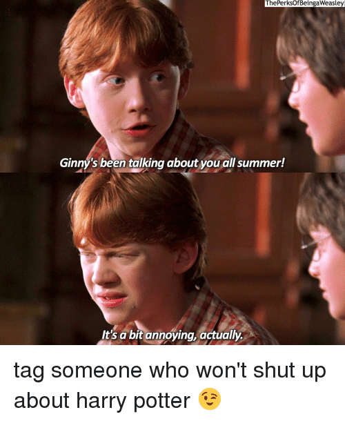 ginny's: ThePerksOf BeingaWeasley  Ginny's been talking about you allsummer!  It's a bit annoying, actually tag someone who won't shut up about harry potter 😉