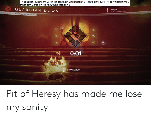 Destiny, Change, and Waiting...: Therapist: Destiny 2 Pit of Heresy Encounter 3 isn't difficult, it can't hurt you.  Destiny 2 Pit of Heresy Encounter 3:  GUARDI AN DOWN  Acolyte  Acolyte Grenade  WAITING TO REVIVE  0:01  CHANGE VIEW Pit of Heresy has made me lose my sanity