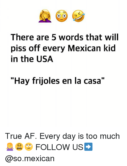 "Af, Memes, and Too Much: There are 5 words that will  piss off every Mexican kid  in the USA  ""Hay frijoles en la casa"" True AF. Every day is too much 🤷‍♀️😩🙄 FOLLOW US➡️ @so.mexican"