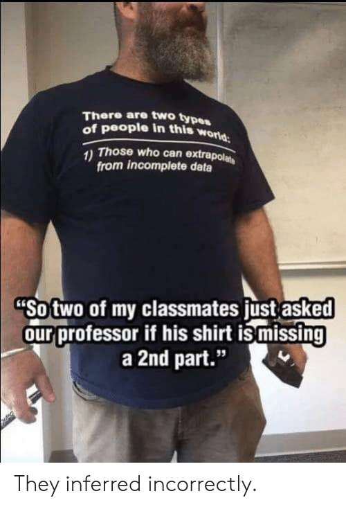 """Type Of People: There are two type  of people in this w  orld  Those who can extrapol  from incomplete data  Sotwo of my classmates ust asked  ourprofessor if his shirt is missing  a 2nd part.""""  95 They inferred incorrectly."""