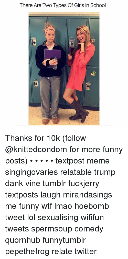 Sexualising: There Are Two Types Of Girls In School Thanks for 10k (follow @knittedcondom for more funny posts) • • • • • textpost meme singingovaries relatable trump dank vine tumblr fuckjerry textposts laugh mirandasings me funny wtf lmao hoebomb tweet lol sexualising wififun tweets spermsoup comedy quornhub funnytumblr pepethefrog relate twitter