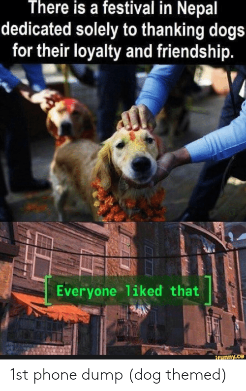 Nepal: There is a festival in Nepal  dedicated solely to thanking dogs  for their loyalty and friendship.  Everyone 1iked that  ifunny.ce 1st phone dump (dog themed)