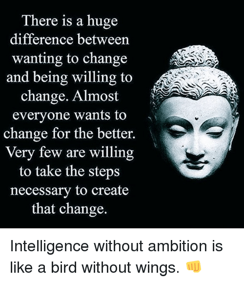 like a bird: There is a huge  difference between  wanting to change  and being willing to  change. Almost  everyone wants to  change for the better.  Very few are willing  to take the steps  necessary to create  that change. Intelligence without ambition is like a bird without wings. 👊