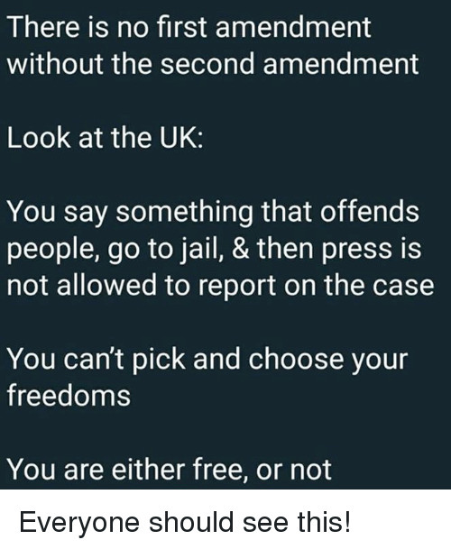 First Amendment: There is no first amendment  without the second amendment  Look at the UK:  You say something that offends  people, go to jail, & then press is  not allowed to report on the case  You can't pick and choose your  freedoms  You are either free, or not Everyone should see this!