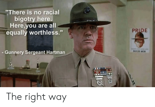 "A Fuck: ""There is no racial  bigotry here.  Here,you are all  equally worthless.""  PRIDE  Gunnery Sergeant Hartman  UL MIN  Fargo @ssehh No 1 Givos a Fuck W The right way"
