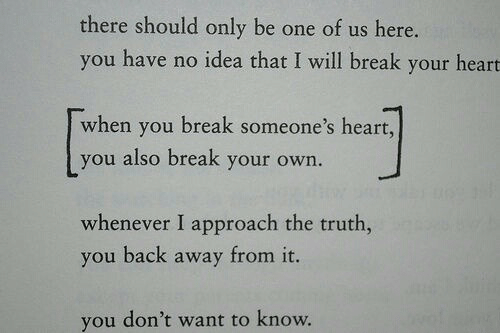 you have no idea: there should only be one of us here.  you have no idea that I will break your heart  when you break someone's heart,  you also break your own.  whenever I approach the truth,  you back away from it.  you don't want to know.