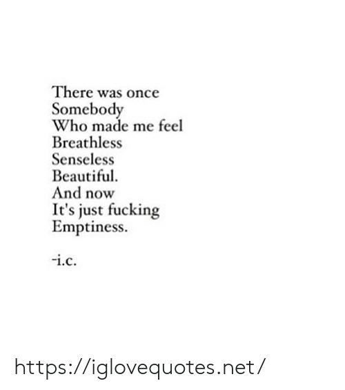 Beautiful, Fucking, and Net: There was once  Somebody  Who made me feel  Breathless  Senseless  Beautiful  And now  just fucking  Emptiness.  i.c https://iglovequotes.net/