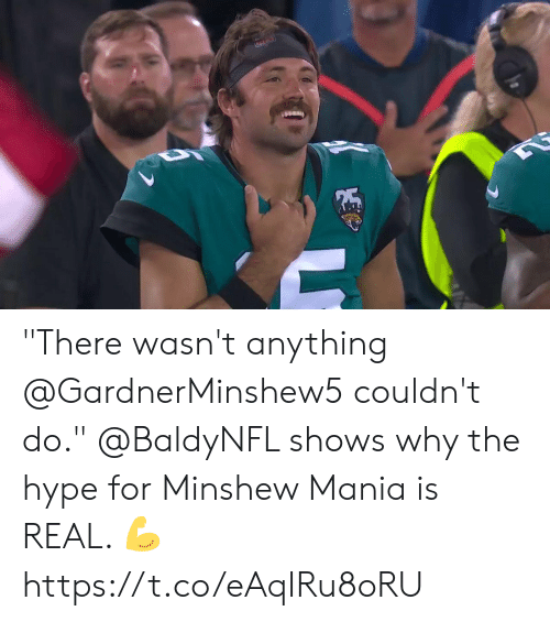 "hype: ""There wasn't anything @GardnerMinshew5 couldn't do.""  @BaldyNFL shows why the hype for Minshew Mania is REAL. 💪 https://t.co/eAqIRu8oRU"