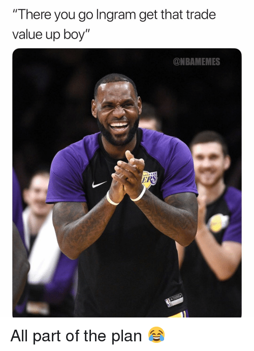 "ingram: There you go Ingram get that trade  value up boy""  @NBAMEMES All part of the plan 😂"