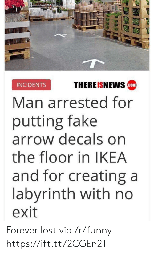 Labyrinth: THEREISNEwS cm  INCIDENTS  Man arrested for  putting fake  arrow decals on  the floor in IKEA  and for creating a  labyrinth with no  exit Forever lost via /r/funny https://ift.tt/2CGEn2T