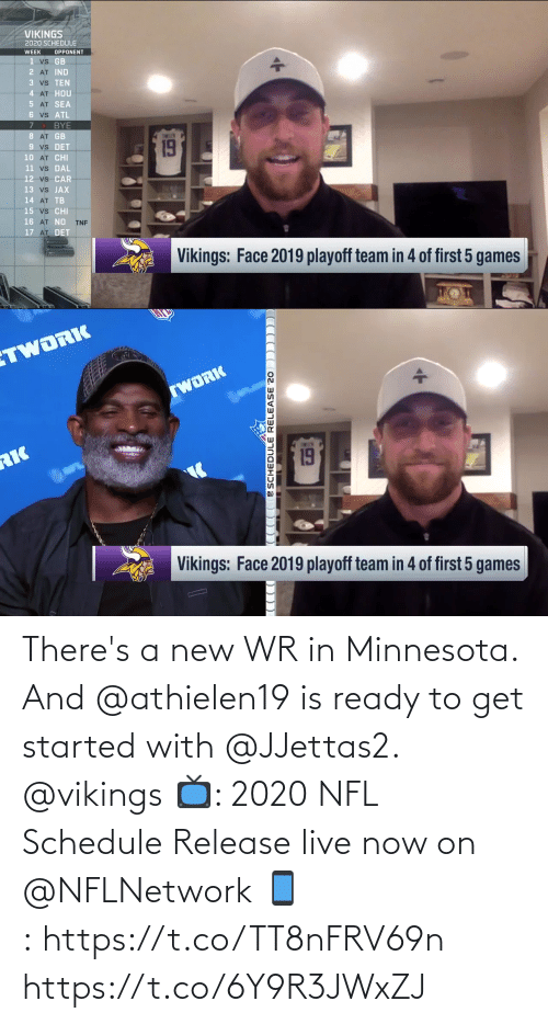 Schedule: There's a new WR in Minnesota.  And @athielen19 is ready to get started with @JJettas2. @vikings  📺: 2020 NFL Schedule Release live now on @NFLNetwork 📱:https://t.co/TT8nFRV69n https://t.co/6Y9R3JWxZJ