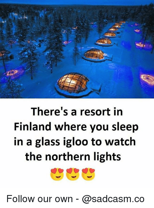 glassing: There's a resort in  Finland where you sleep  in a glass igloo to watch  the northern light:s Follow our own - @sadcasm.co