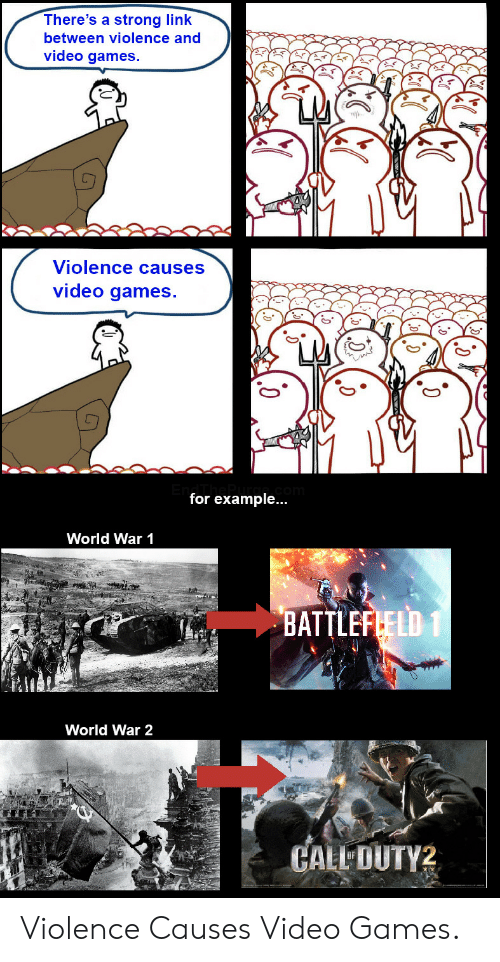 for example: There's a strong link  between violence and  video games.  Violence causes  video games.  for example...  World War 1  BATTLEFLELD 1  World War 2  CALL DUTY2 Violence Causes Video Games.