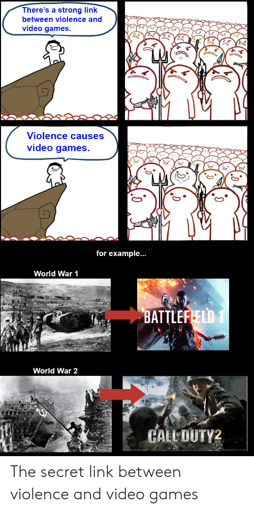 for example: There's a strong link  between violence and  video games.  Violence causes  video games.  for example...  World War 1  BATTLEFLELD 1  World War 2  CALL DUTY2 The secret link between violence and video games